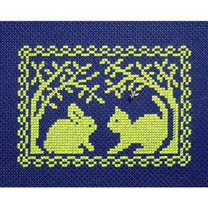 Spring Silhouette Cross Stitch Pattern - Bunny Meets a Kitty