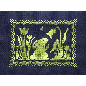 Spring Silhouette Cross Stitch Pattern - Bunny and Flowers