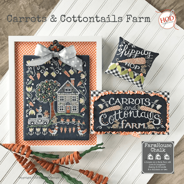 Chalkboard Cross Stitch Pattern - Carrots & Cottontails Farm