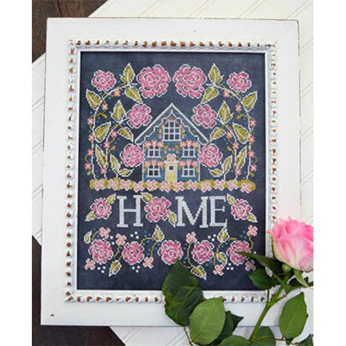Chalkboard Cross Stitch Pattern - Rose Cottage