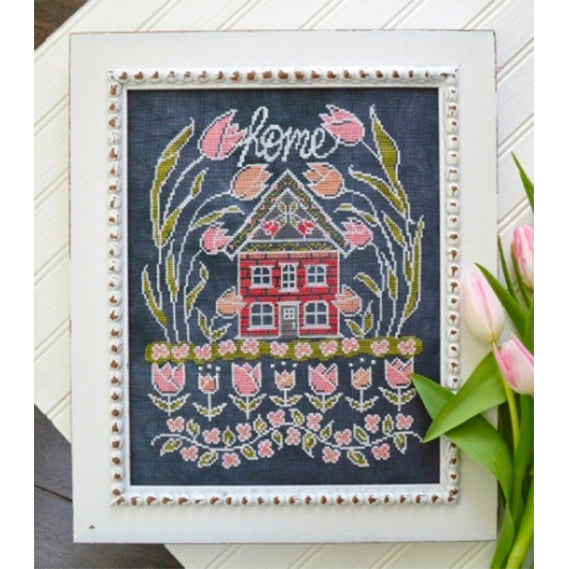 Chalkboard Cross Stitch Pattern - Tulip House