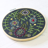 Black Spring Posy Hand Embroidery Kit