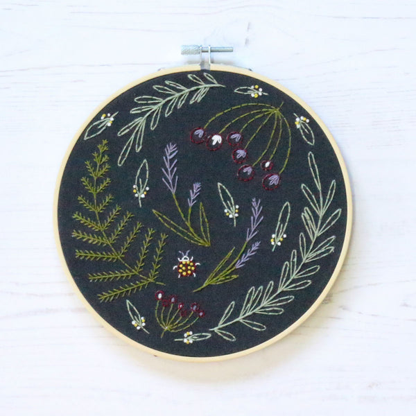 Black Wildwood Hand Embroidery Kit