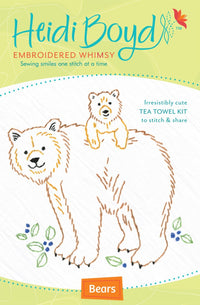 Hand Embroidered Tea Towel Kit - Bears