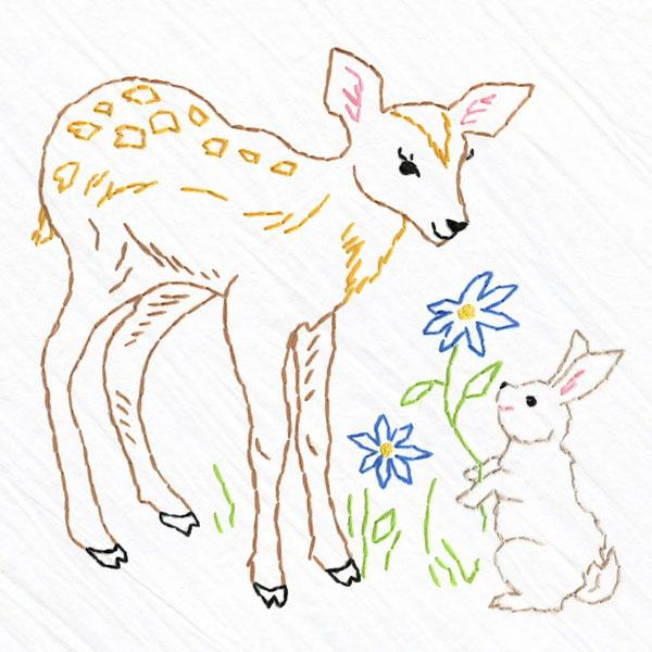 Hand Embroidered Tea Towel Kit - Fawn & Bunny