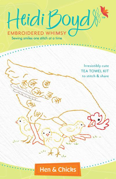 Hand Embroidered Tea Towel Kit - Hen & Chicks