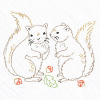 Hand Embroidered Tea Towel Kit - Squirrels
