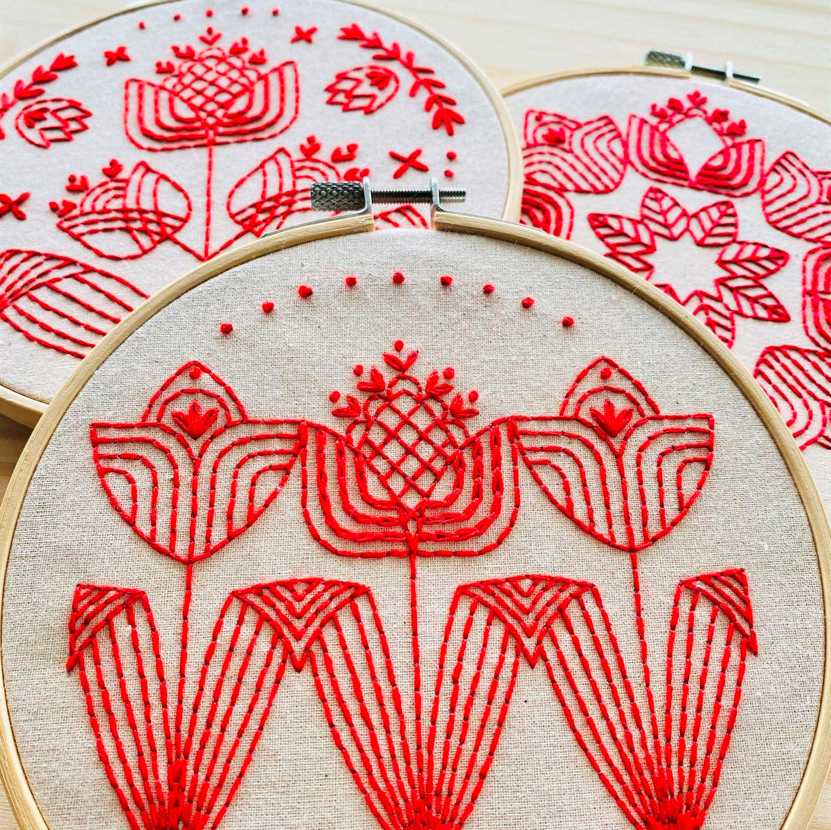Tulips in a Row Hand Embroidery Kit