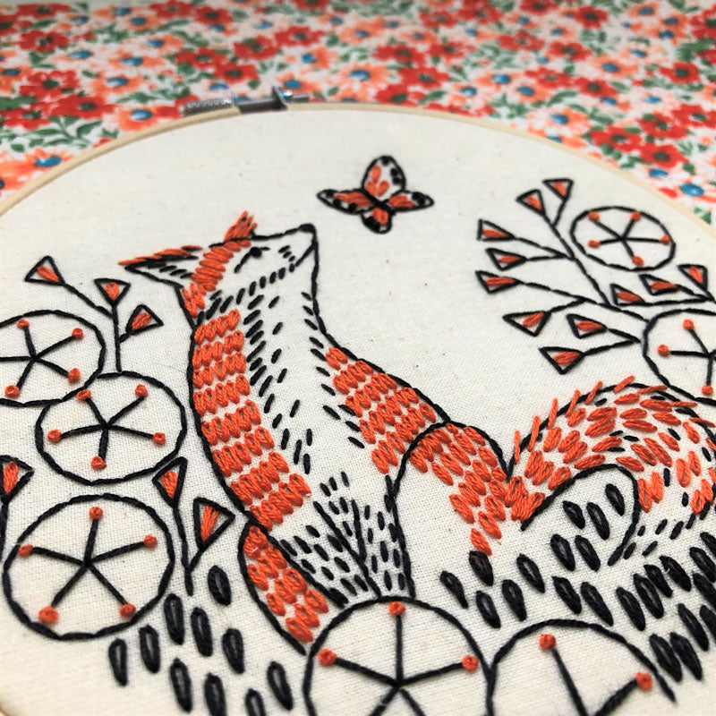 Fox in Phlox Hand Embroidery Kit