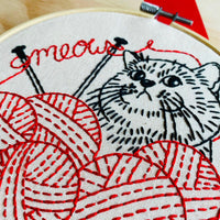 Knittin' Kitten Hand Embroidery Kit