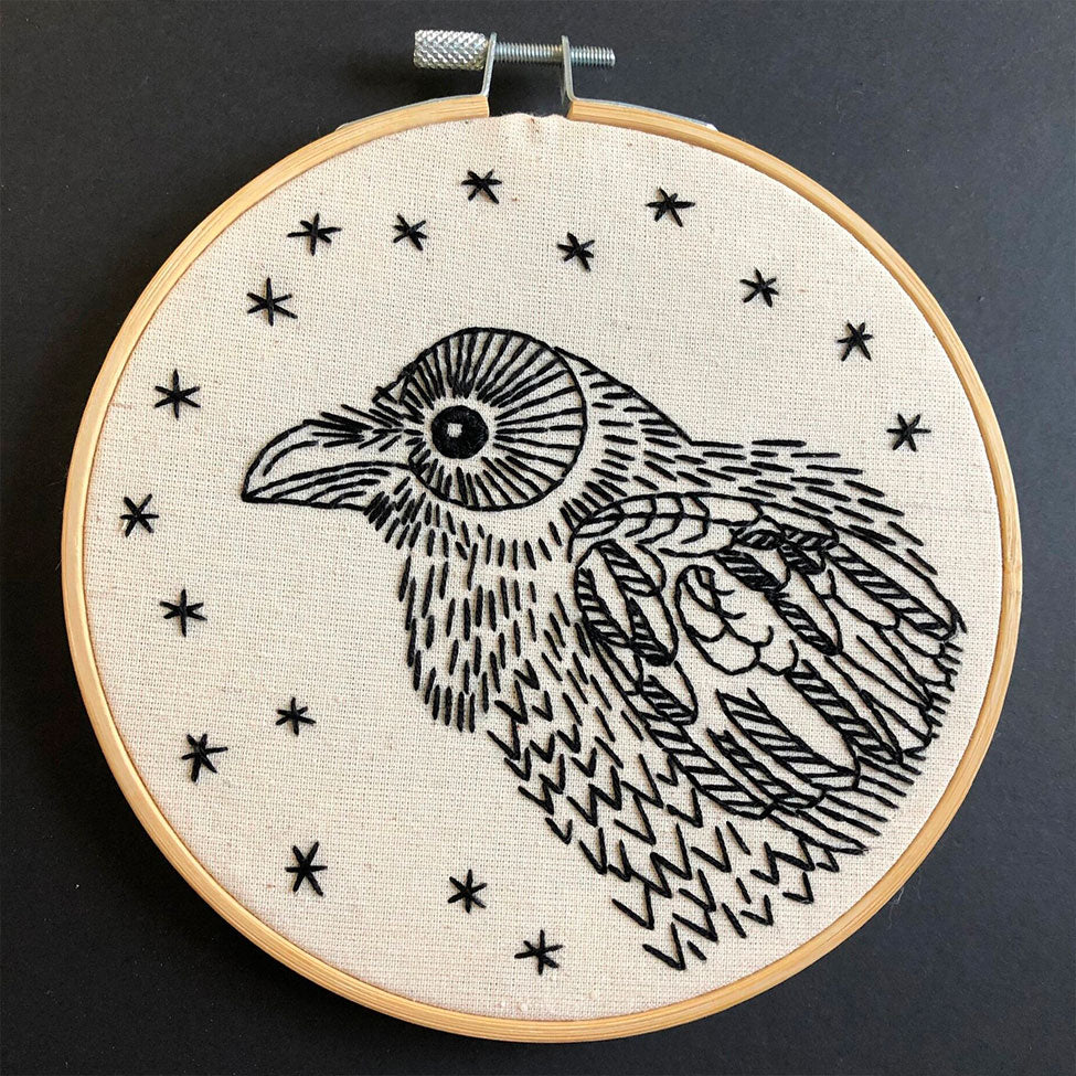 Nevermore Raven Hand Embroidery Kit