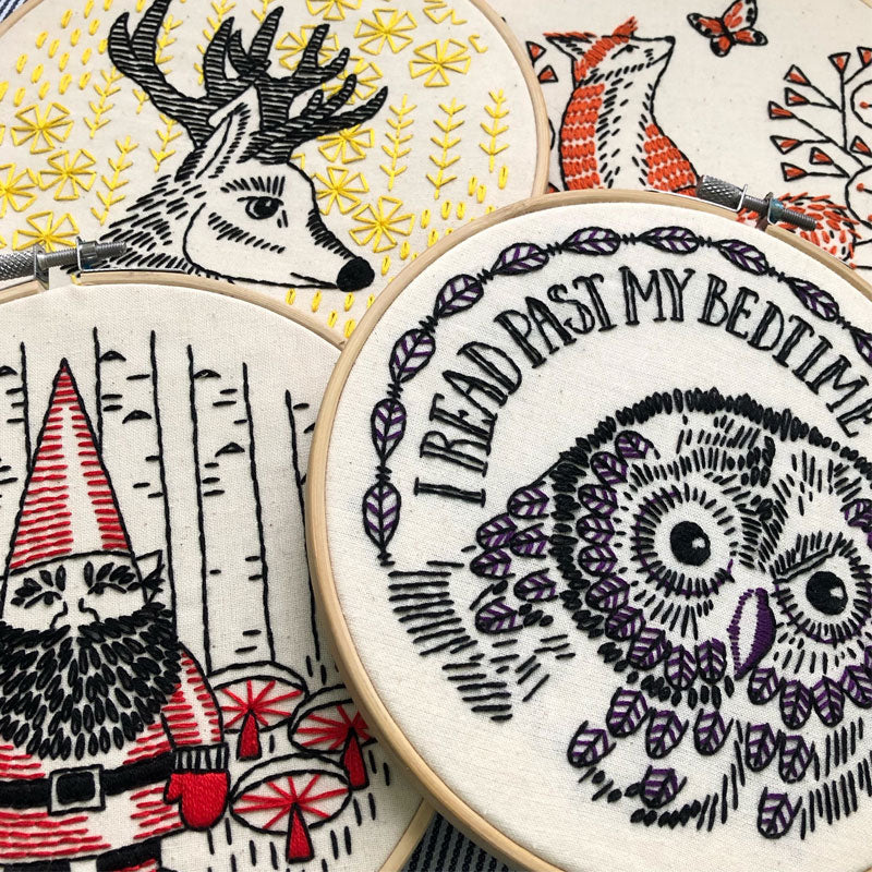I Read Past My Bedtime Hand Embroidery Kit