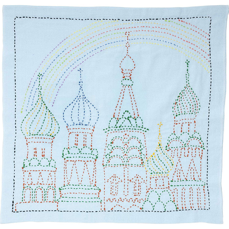 Sashiko Embroidery Kit - Rainbow Palace