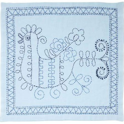 Sashiko Embroidery Kit - Rooster with Blue Flower