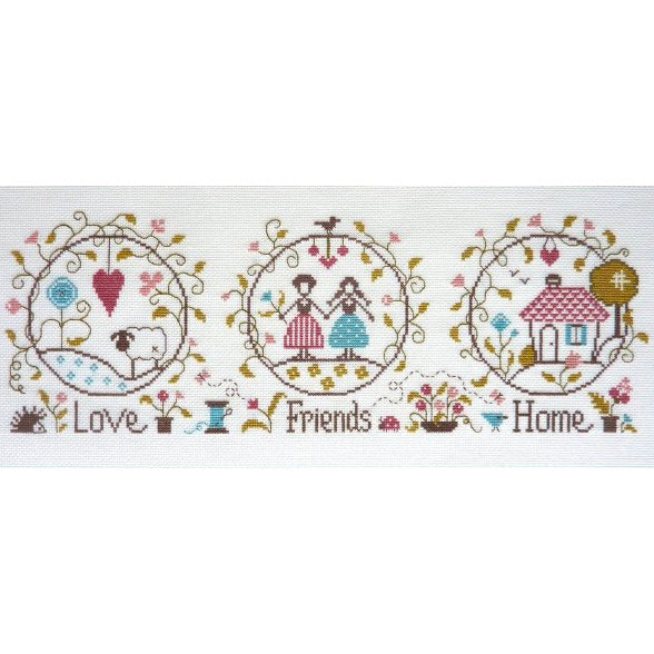 Love, Friends + Home Cross Stitch Sampler Pattern