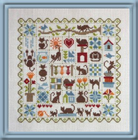 Patchwork Cats (Patchwork aux Chats) Cross Stitch Pattern