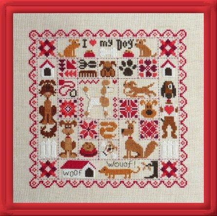 Patchwork Dogs (Patchwork aux Chiens) Cross Stitch Pattern