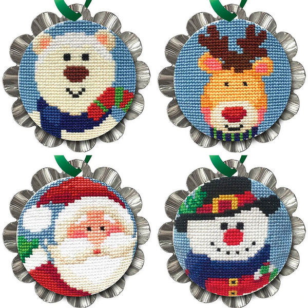 Tart Tin Cross Stitch Ornament Kit - Set of 4