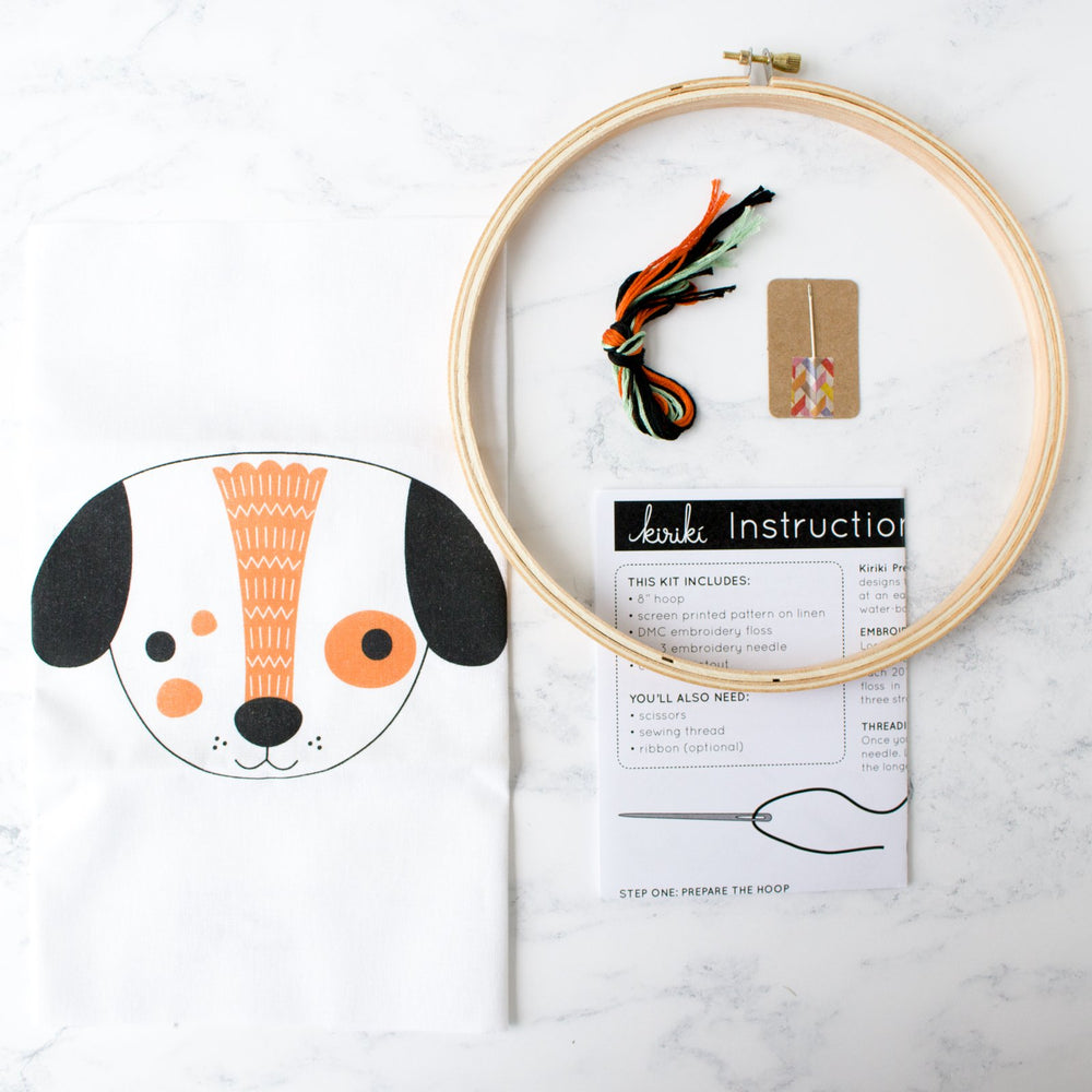 Screen Printed Puppy Hand Embroidery Kit (20% OFF)