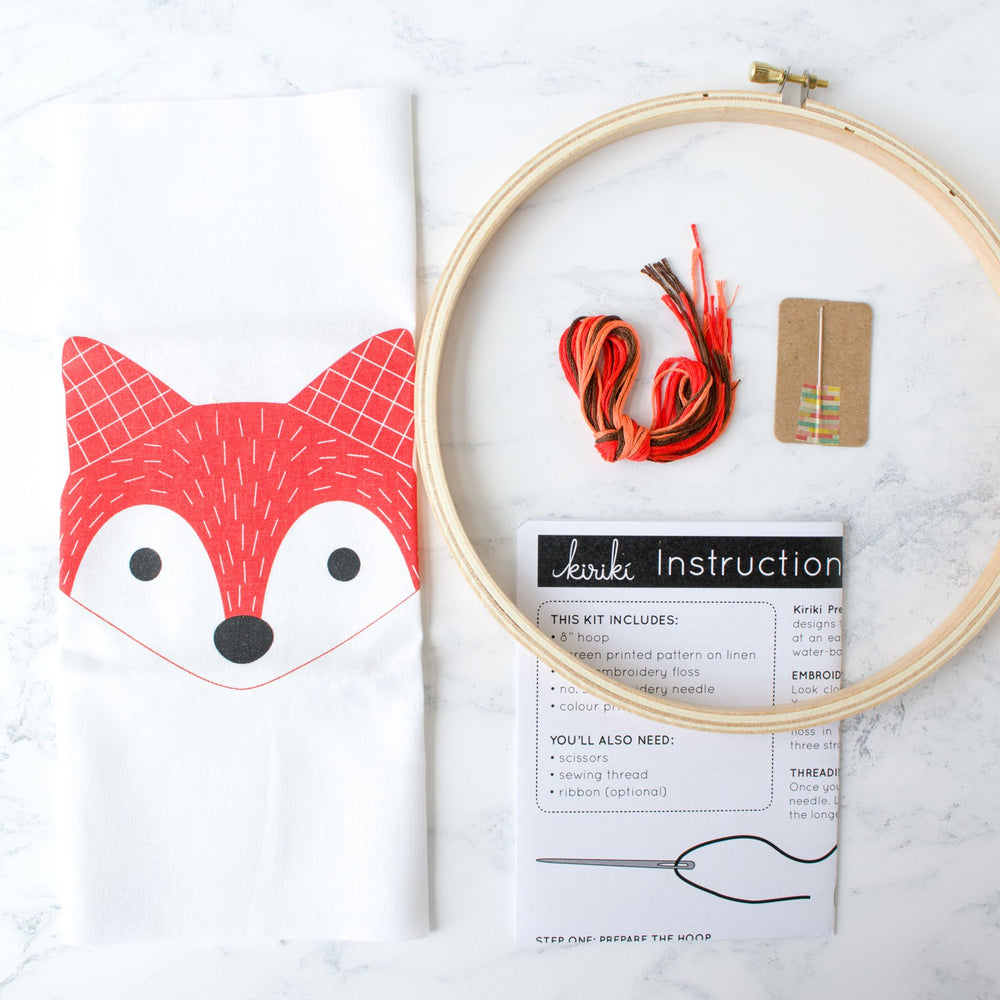 Screen Printed Fox Hand Embroidery Kit (20% OFF)