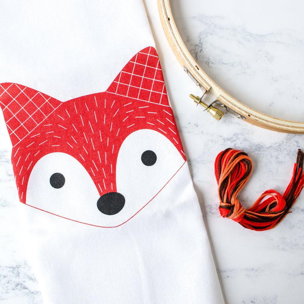 Screen Printed Fox Hand Embroidery Kit