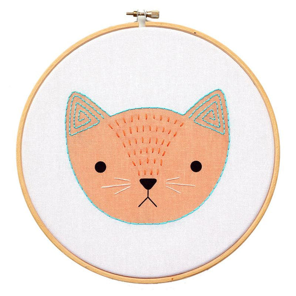 Screen Printed Kitten Hand Embroidery Kit