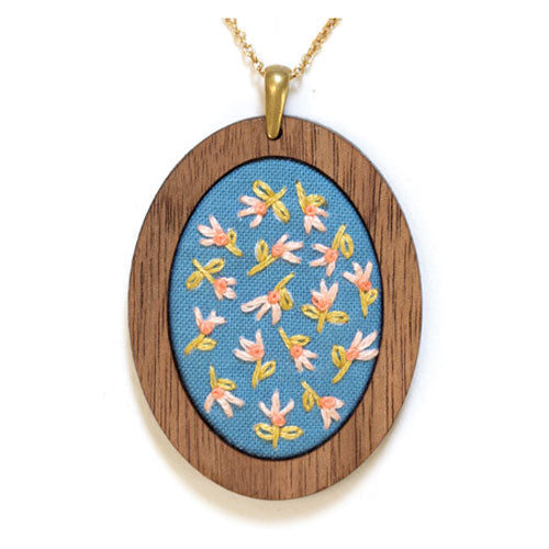 Hand Embroidered Pendant Kit - Tiny Tulips (20% OFF)