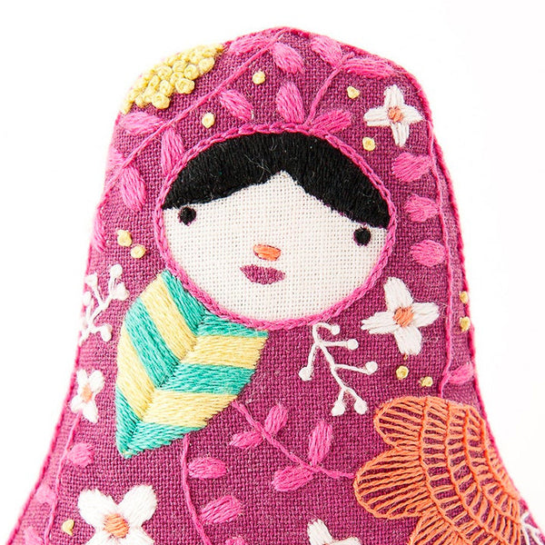Hand Embroidered Plushie Doll Kit - Matryoshka