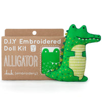 Hand Embroidered Plushie Doll Kit - Alligator