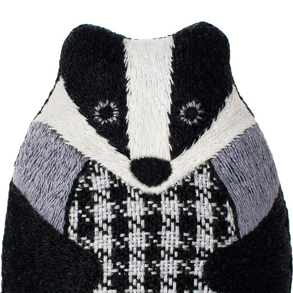 Hand Embroidered Plushie Doll Kit - Badger