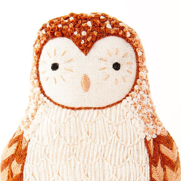 Hand Embroidered Plushie Doll Kit - Barn Owl