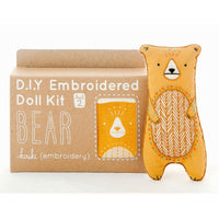 Hand Embroidered Plushie Doll Kit - Bear