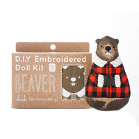 Hand Embroidered Plushie Doll Kit - Beaver