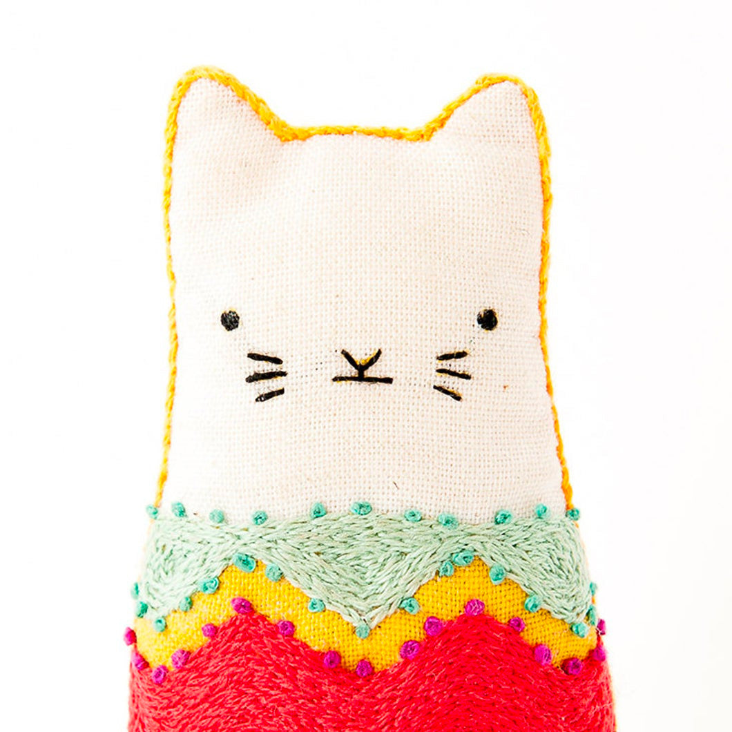 Hand Embroidered Plushie Doll Kit - Fiesta Cat