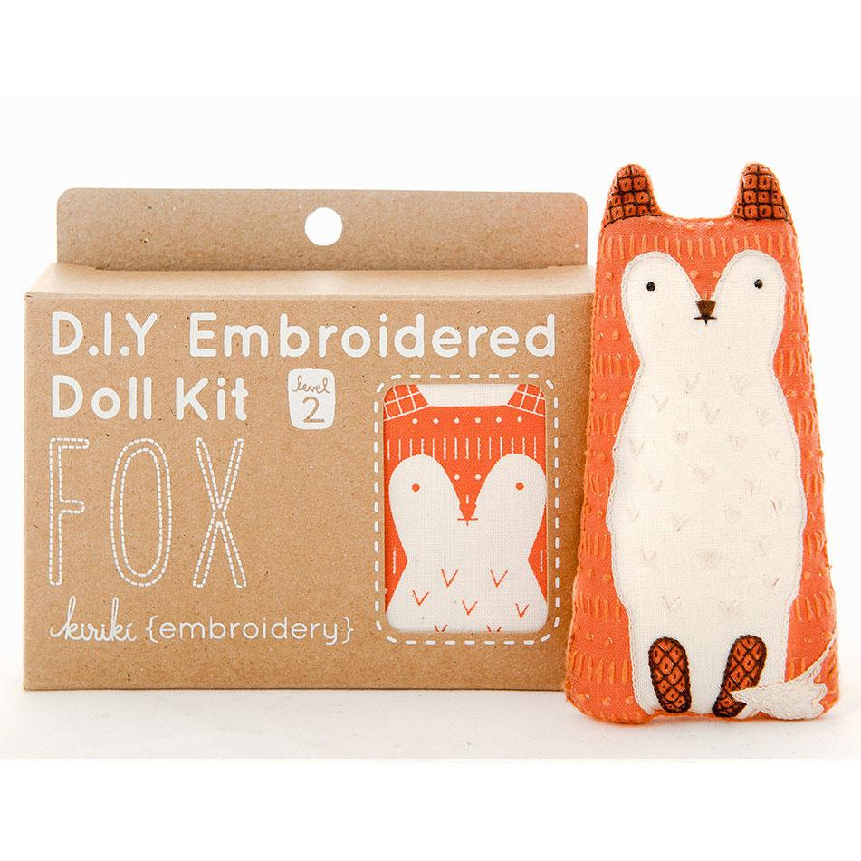Hand Embroidered Plushie Doll Kit - Fox