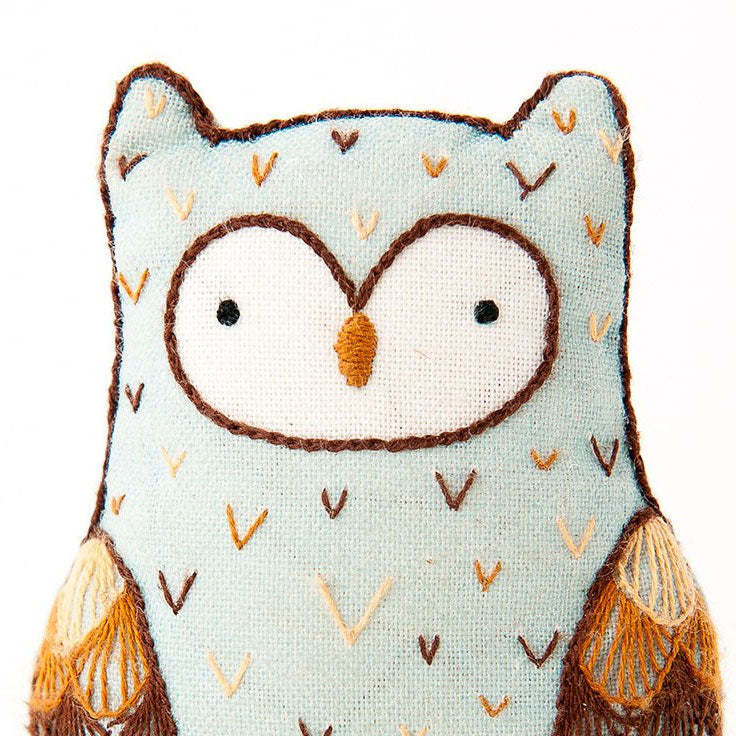 Hand Embroidered Plushie Doll Kit - Horned Owl
