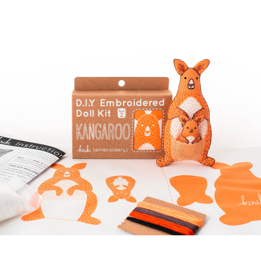 Hand Embroidered Plushie Doll Kit - Kangaroo