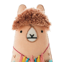 Hand Embroidered Plushie Doll Kit - Llama