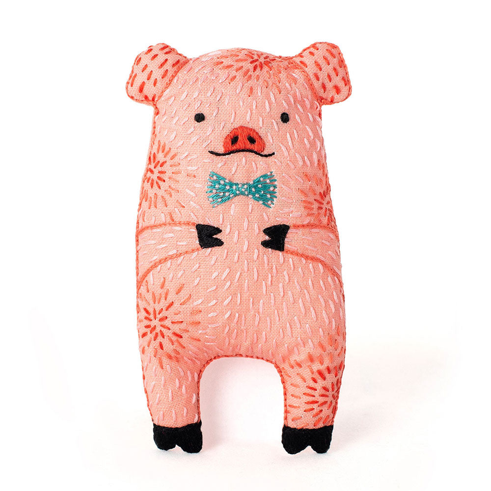 Hand Embroidered Plushie Doll Kit - Pig