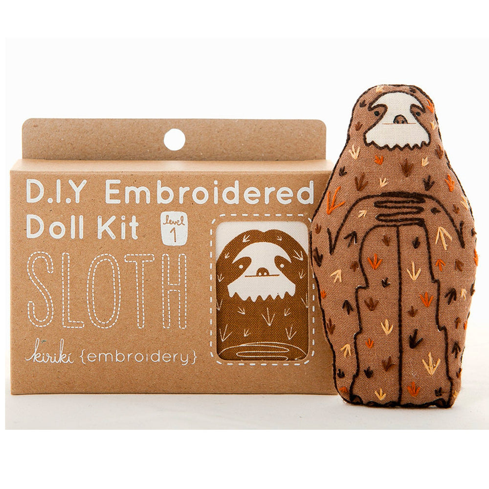 Hand Embroidered Plushie Doll Kit - Sloth