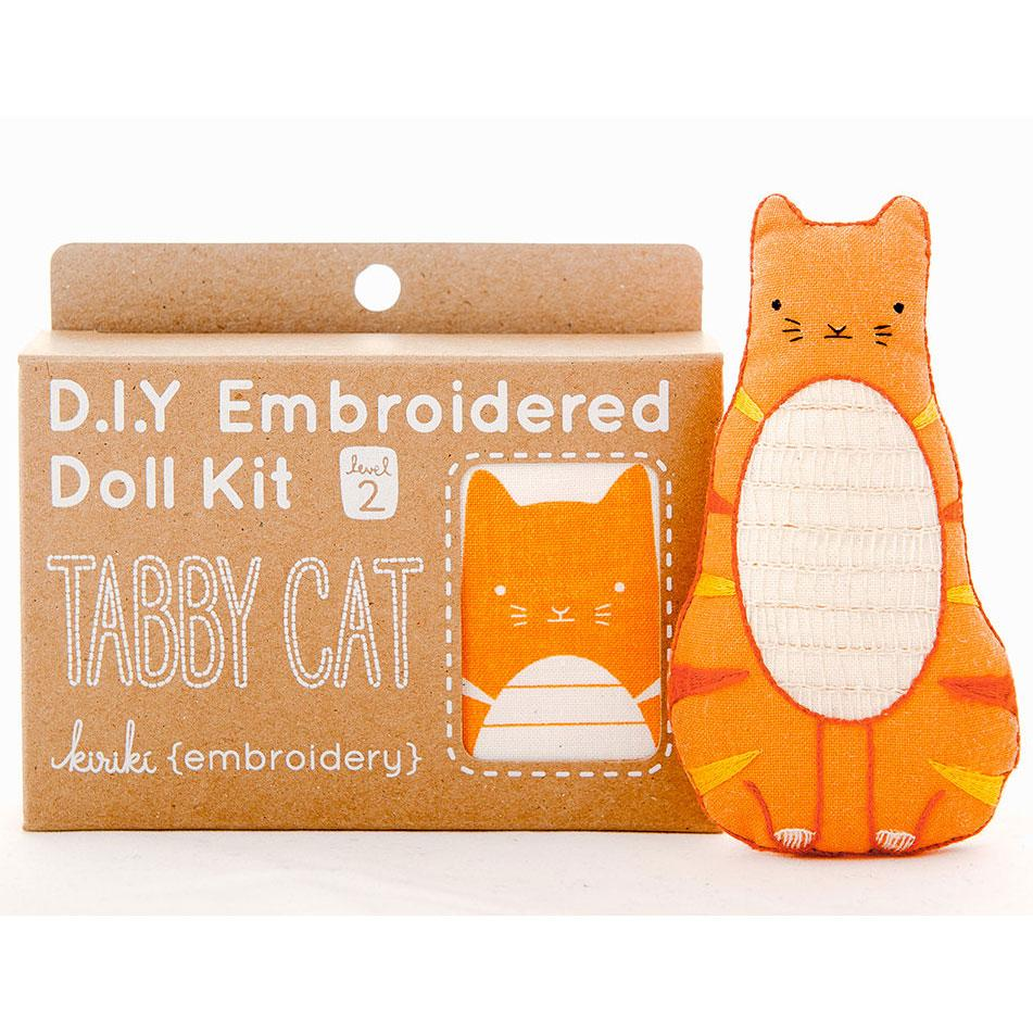 Hand Embroidered Plushie Doll Kit - Tabby Cat