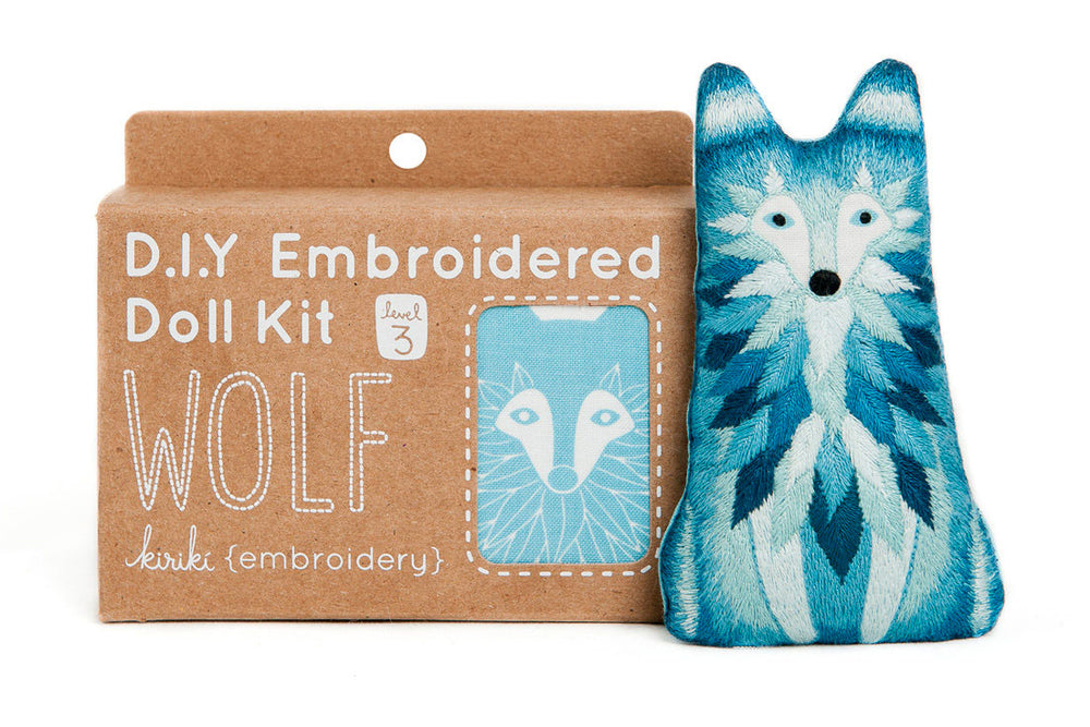Hand Embroidered Plushie Doll Kit - Wolf