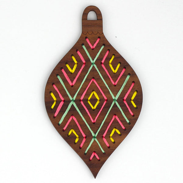 Hand Embroidered Wood Ornament Kit - Geometric