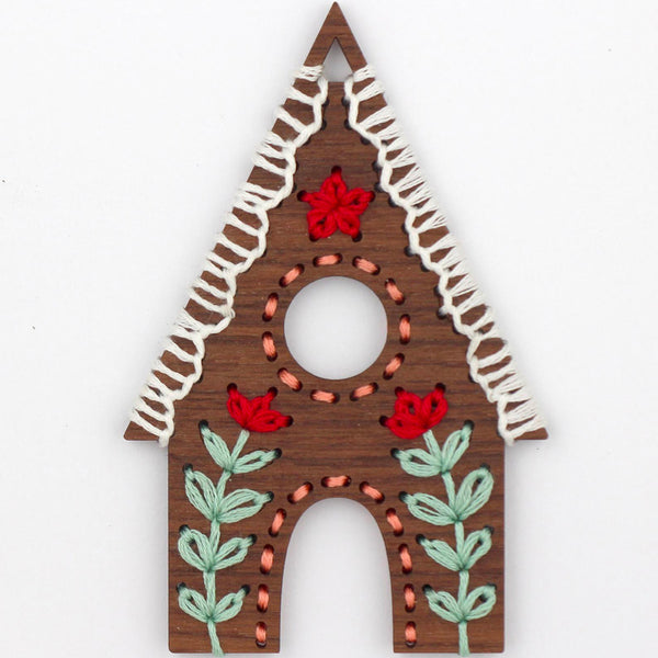 Hand Embroidered Wood Ornament Kit - Gingerbread House