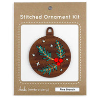 Hand Embroidered Wood Ornament Kit - Pine Branch