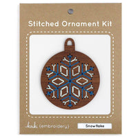 Hand Embroidered Wood Ornament Kit - Snowflake