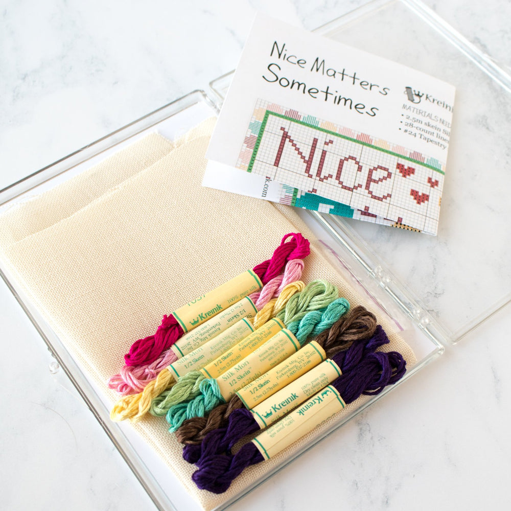 'Nice Matters' Cross Stitch Kit with Silk Thread
