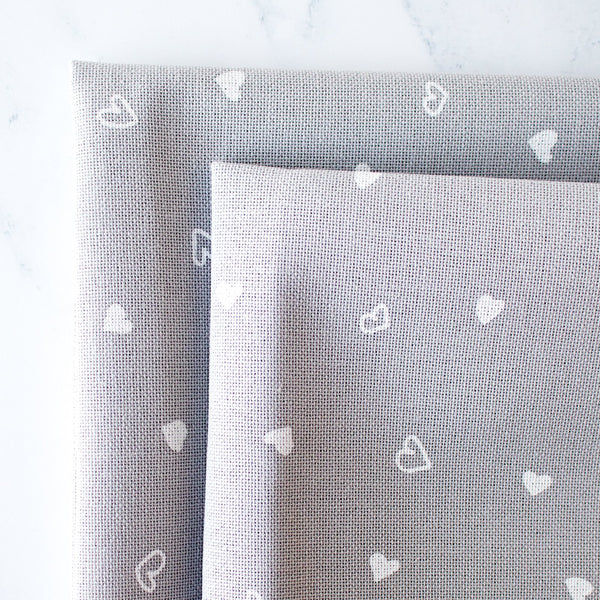 Gray Lugana Fabric with White Hearts - 32 Count