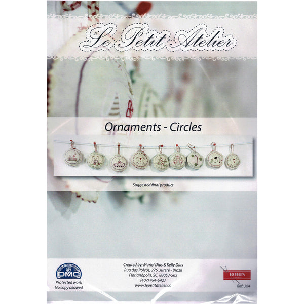 French Hand Embroidery Kit - Christmas Baubles