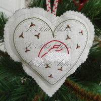 French Hand Embroidery Kit - Christmas Hearts